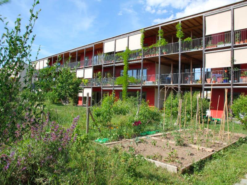 Vue d'un jardin de l'immeuble de la coopérative CODHA