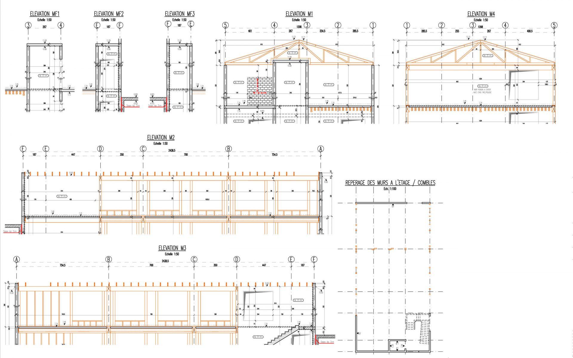 Plan d'armatures de l'étage et des combles