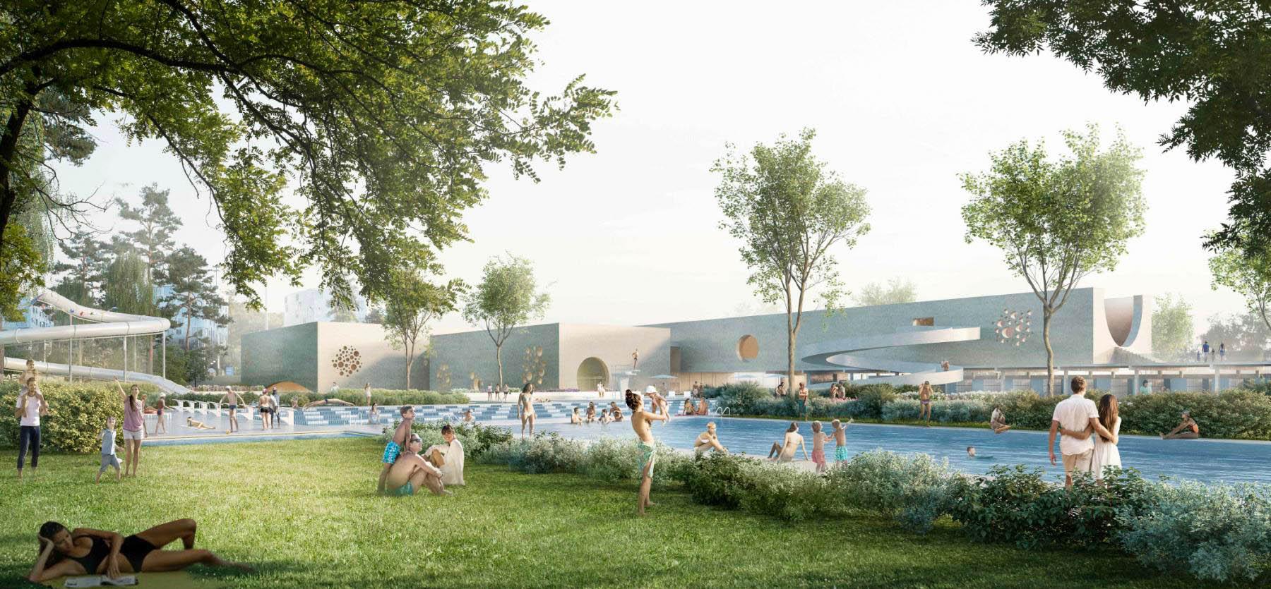 Parc et bassins de la piscine de Carouge